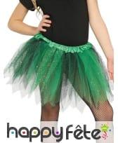 Tutu bicolore tulle vert noir à paillettes fille