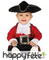 Tenue de bébé pirate rouge