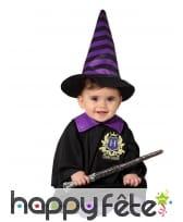Tenue de bébé sorcière noir violet