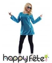 Tunique disco bleue à paillettes pour femme