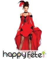 Tenue danseuse Cancan asymétrique rouge pour femme