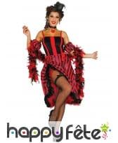 Tenue danseuse Cancan rouge et noir pour femme