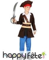 Tenue de capitaine pirate pour enfant, marron bleu