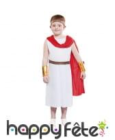 Tenue de césar pour enfant avec cape rouge