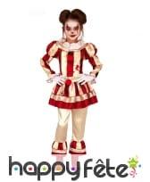 Tenue de clown rétro taché de sang pour fille