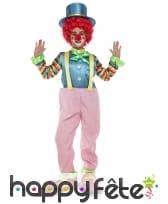 Tenue de clown rose en salopette pour enfant