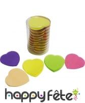 Tube de confettis coeur multicolore