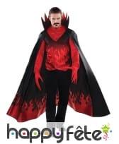 Tenue de diable rouge avec cape, pour homme, luxe