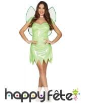 Tenue de fée ailée brillante verte pour femme