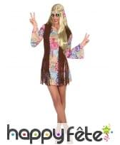 Tenue de femme hippie courte avec gilet à franges