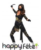 Tenue de femme ninja or noir