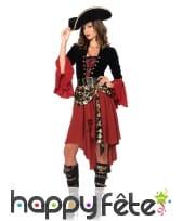 Tenue de femme pirate bordeaux corset noir
