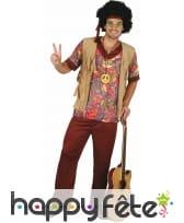 Tenue de hippie à manches courtes pour homme
