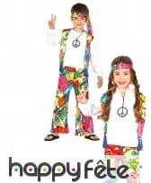Tenue de hippie Peace and Love fleurie enfant, image 1