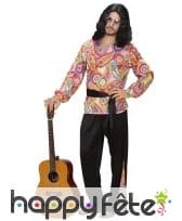 Tenue de hippie pour homme haut fleuri coloré