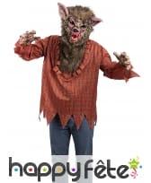 Tunique de loup garou avec masque pour adulte
