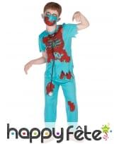 Tenue de médecin zombie ensanglanté pour enfant