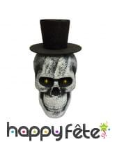 Tête de mort à paillettes chapeau noir