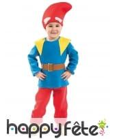 Tenue de nain de jardin pour enfant, bleu et rouge