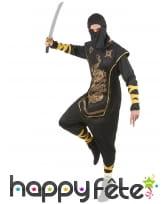 Tenue de ninja noir et doré pour adulte, image 2
