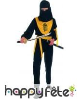 Tenue de ninja noir et jaune pour petit garçon