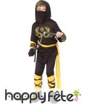 Tenue de ninja noir motifs jaunes pour garçon