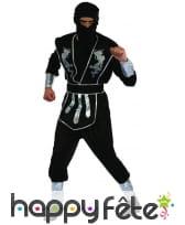 Tenue de ninja noire et argentée pour homme, image 3