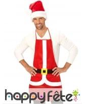 Tablier de Père Noël rouge et blanc pour adulte