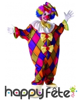 Tenue de petit clown imprimé losanges multicolores