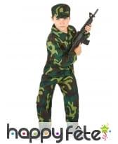 Tenue de petit militaire imprimé camouflage