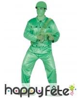 Tenue de petit soldat jouet vert pour adulte