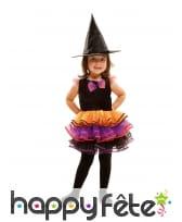 Tenue de petite sorcière avec tutu coloré