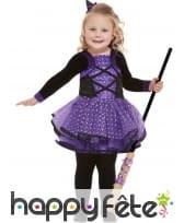 Tenue de petite sorcière violette et noire