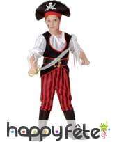Tenue de pirate enfant rayures noires et rouges