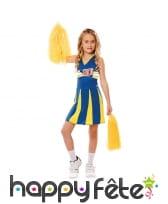 Tenue de pom pom girl jaune et bleue pour enfant
