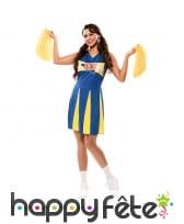 Tenue de pom pom girl jaune et bleue pour femme