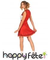 Tenue de pompom girl rouge et blanche pour femme, image 2