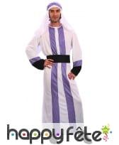 Tenue de prince arabe blanche et violette