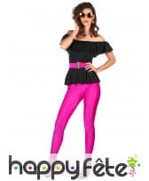 Tenue disco pantalon moulant rose flash, haut noir, image 1