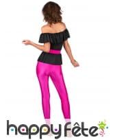 Tenue disco pantalon moulant rose flash, haut noir, image 2