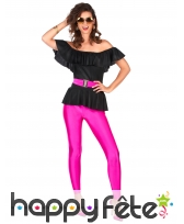 Tenue disco pantalon moulant rose flash, haut noir