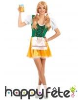 Tenue de serveuse bavaroise verte et jaune