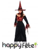 Tenue de sorcière haut rouge satiné pour femme