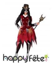 Tenue de sorcière squelette rouge, grande taille