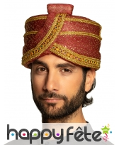 Turban de sultan rouge pailleté pour adulte