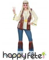 Tenue hippie avec veste marron à franges, femme, image 1