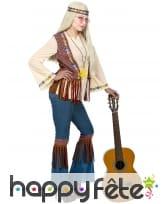 Tenue hippie avec veste marron à franges, femme, image 2