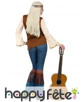 Tenue hippie avec veste marron à franges, femme, image 3