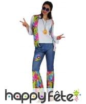 Tenue hippie bleue et colorée pour femme, image 3