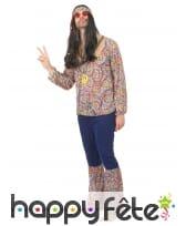 Tenue hippie bleue et motifs années 60 pour homme, image 1